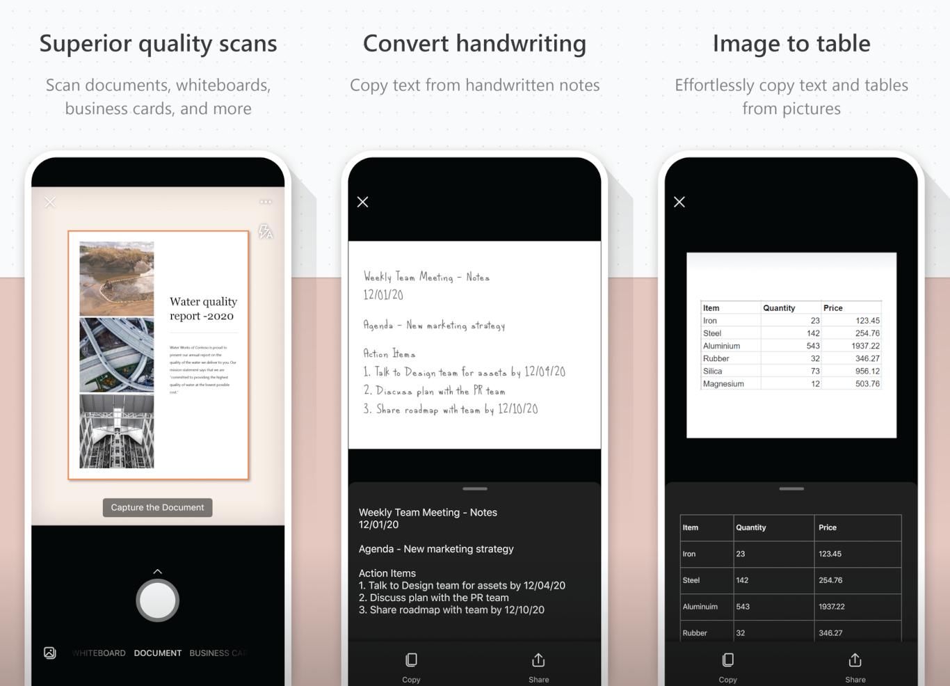 "alt=""ภาพโปรโมตฟีเจอร์สแกนของ Microsoft Lens จาก App Store"""