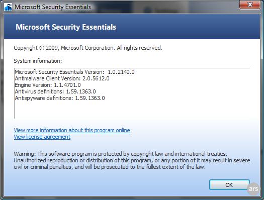 "alt=""Microsoft Security Essentials Screenshot - About Window"""