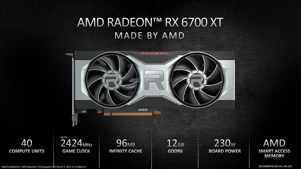 AMD เปิดตัว Radeon RX 6700 XT เน้นเล่นเกม 1440p ขาย 18 มีนาคม เริ่มต้น 479 ดอลลาร์