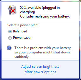 "alt=""Windows 7 replace battery warning"""