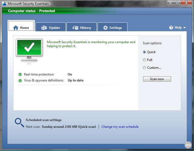 "alt=""Microsoft Security Essentials Screenshot - Main Window"""