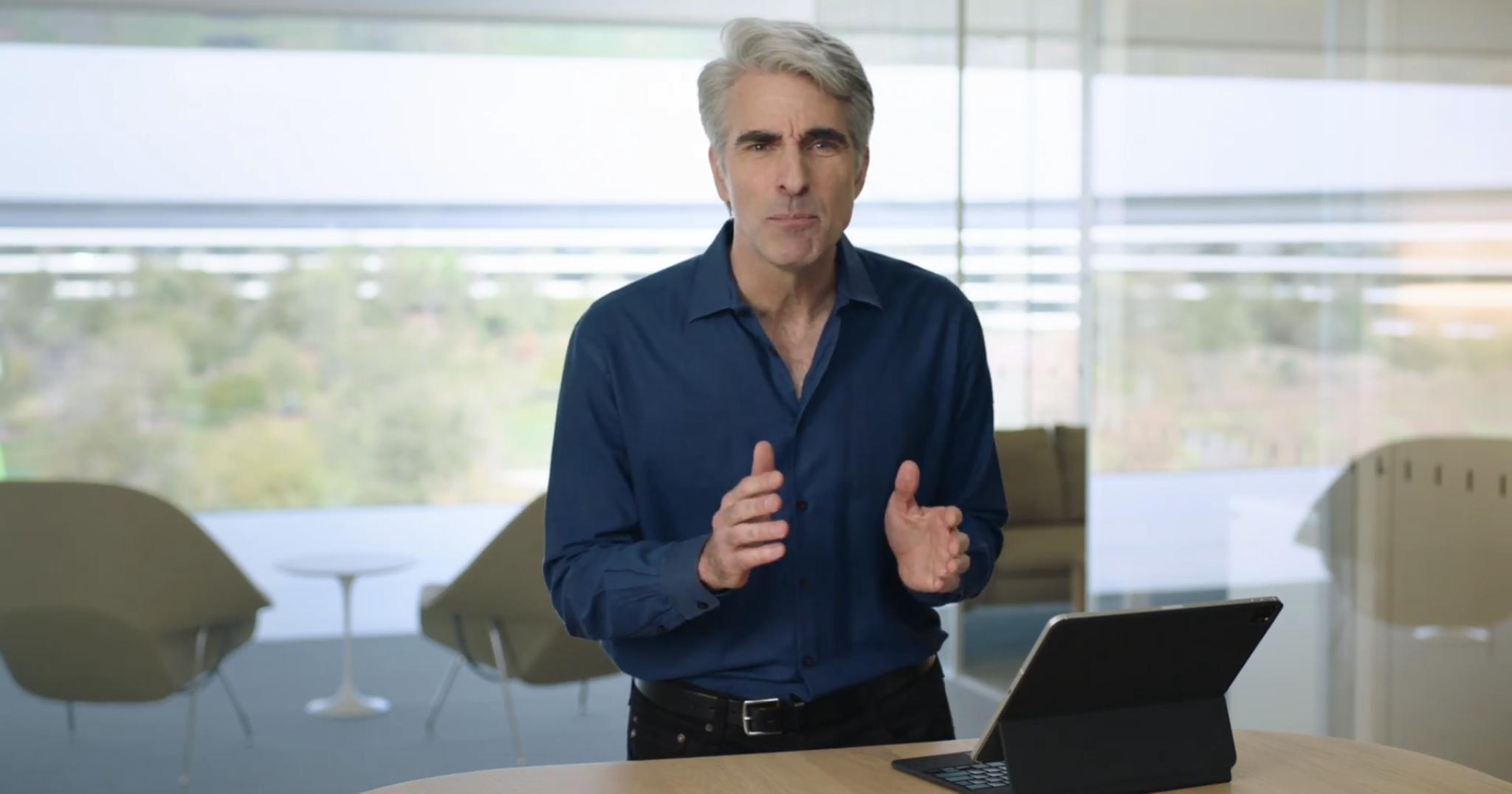 "alt=""Craig Federighi and iPad Pro 2020"""