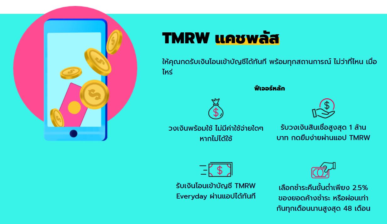 สินเชื่อเงินสดพร้อมใช้ TMRW Cash Plus