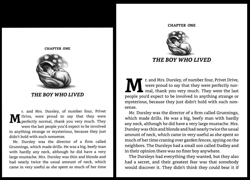 """alt=""""เทียบหน้าจอ KV (ซ้าย) Oasis 2 (ขวา) เปิดเอกสารเดียวกัน reading setting เดียวกัน, Bookerly font size 3"""""""