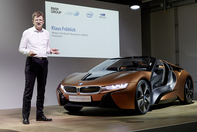 "alt=""Klaus Fröhlich of BMW Group speaks at a news conference in Munich, Germany, on Friday, July 1, 2016. BMW Group, Intel and Mobileye are announcing a partnership among the three companies to work together with the goal of bringing highly and fully automated"""