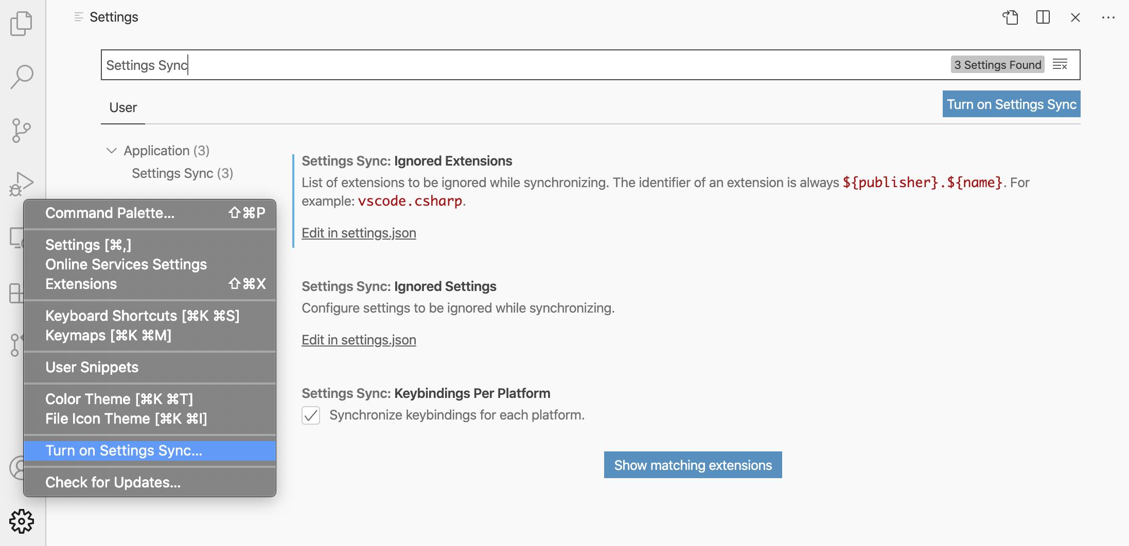"""alt=""""ภาพการเข้าใช้งาน Settings Sync ผ่านเมนู Settings ฟันเฟือง"""""""