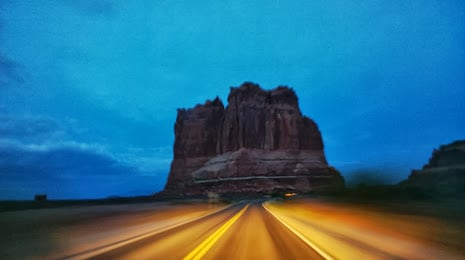 "alt=""Driving toward the ""Courthouse"" in Arches National Park, Utah"""