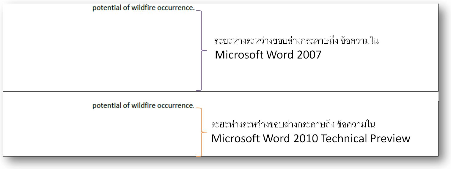 "alt=""แสดงการเปรียบเทียบบริเวณท้ายกระดาษ ระหว่าง Word 2007 และ Word 2010 Technical Preview"""