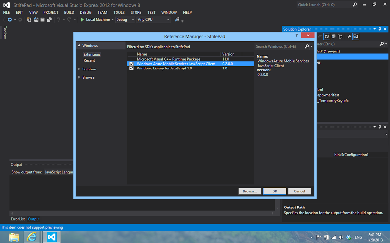 """alt=""""การเตรียมโปรเจกต์เพื่อใช้งาน Windows Azure SDK"""""""