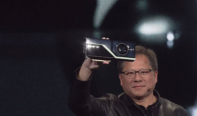 "alt=""NVIDIA CEO Jensen Huang announces the Quadro RTX GPU"""