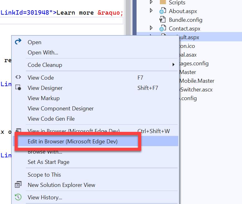 "alt=""ภาพตัวอย่างเมนู Edit in Browser เมื่อคลิกขวาที่ไฟล์ ASPX"""