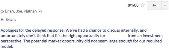 "alt=""ตัวอย่างอีเมลที่ Chesky โพส"""