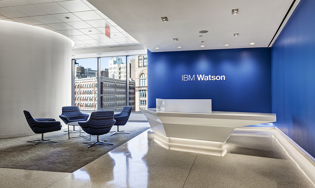 "alt=""The lobby of the Client Experience Center at the Watson Group headquarters at 51 Astor Place."""